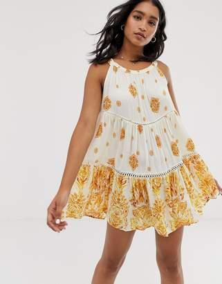 Free People Talk To Me floral print swing dress-White