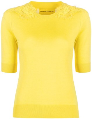 Ermanno Scervino Crochet-Embellished Knitted Top