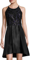 Taylor Swirl-Embellished Party Dress, Black Metallic