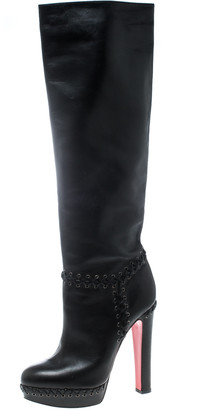 Christian Louboutin Black Leather Braided Detail Knee Length Boots Size 39