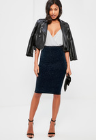Missguided Navy Sparkle Velvet Midi Skirt