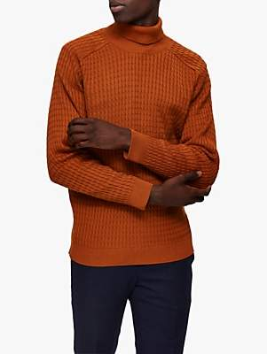 Selected Textured Organic Cotton Knitted Roll Neck Jumper