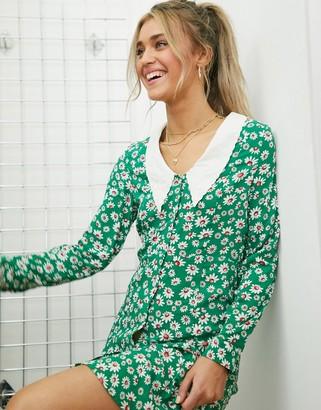 Monki Noomi floral-print mini dress in green