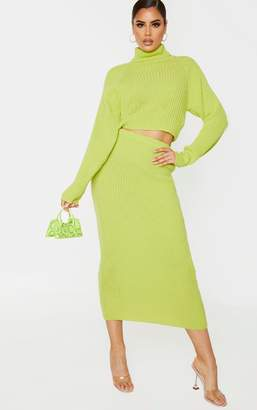 SWAGGER Tall Neon Green Knitted Midi Skirt