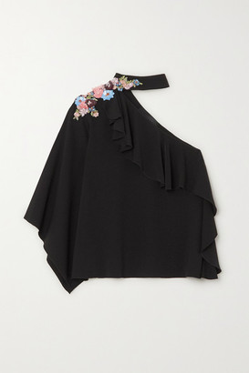 Costarellos One-shoulder Ruffled Embellished Crepe Top - Black