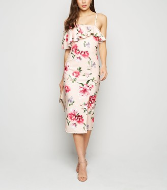 New Look Floral Ruffle Trim Bodycon Dress