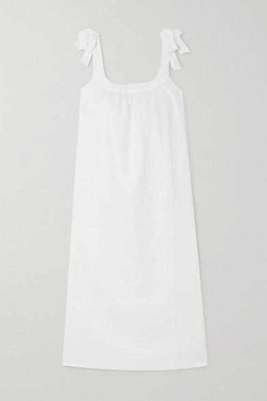 Reformation Bronte Tie-detailed Linen Midi Dress - White
