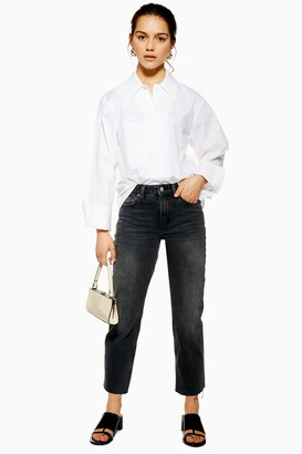 Topshop PETITE CONSIDERED Washed Black Raw Hem Organic Cotton Straight Jeans