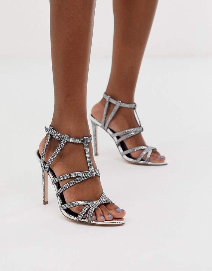 9af2b4790e4 Design DESIGN High Maintenance strappy pointed heeled sandals in silver
