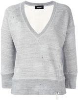 DSQUARED2 cropped marled detail sweatshirt - women - Cotton - XS
