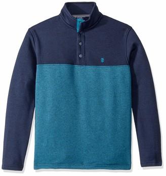Izod Men's Premium Essentials Spectator Button Mock Neck Colorblock Fleece Pullover