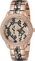 GUESS GUESS? Women's U0624L2 Rose Gold-Tone Python Print Watch