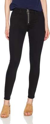 Siwy Women's Olga Mid Rise Front Zip Skinny Jeans in Black Mirror 25