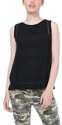 Desigual Women's 71B2YK1 Round Collar Sleeveless Blouse - Black