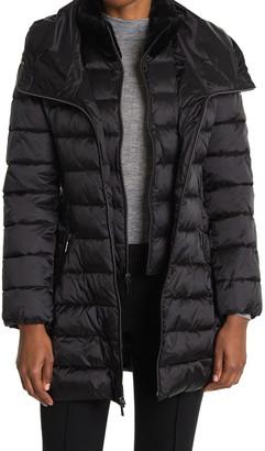 Tahari Faux Fur Trim Collar Hooded Bib Puffer Jacket