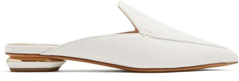 Nicholas Kirkwood Beya Grained Leather Backless Loafers - Womens - White