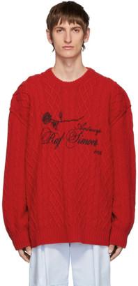 Raf Simons Red Aran Crewneck Sweater