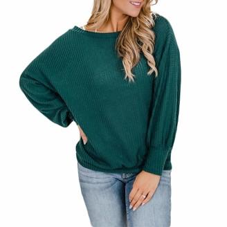 Ai.Moichien Women's Round Neck Long Sleeve Sweatshirt T-Shirt Solid Color Loose Sweatshirt Green L
