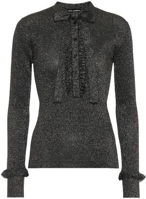 Dolce & Gabbana Ribbed-knit metallic top