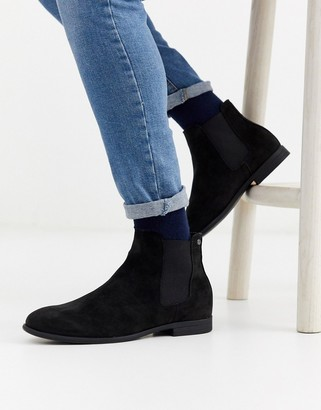 Jack and Jones faux suede chelsea boots in black
