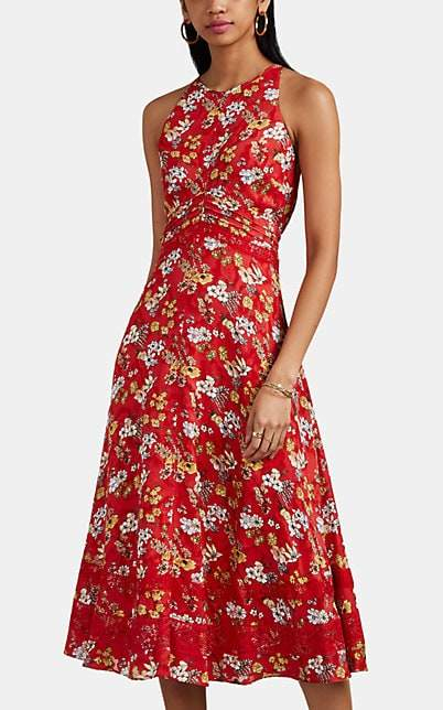 Derek Lam 10 Crosby Women's Floral Silk-Blend Jacquard Midi-Dress - Red