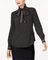 Trina Turk Silk Tie-Neck Blouse