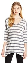 Three Seasons Maternity Women's 3/4 Sleeve Vneck Stripe Sharkbite Top