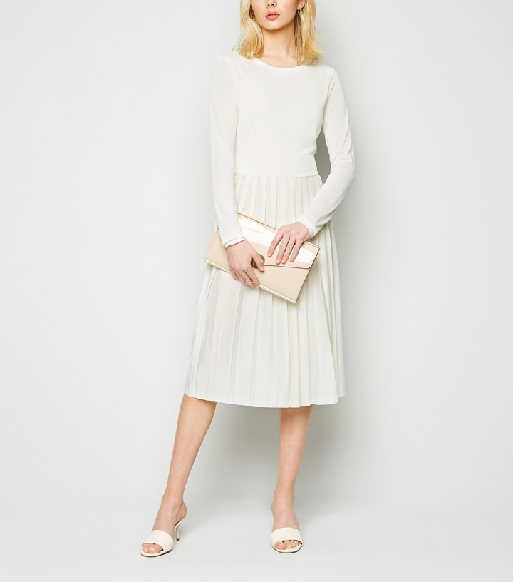 New Look NA-KD Long Sleeve Pleated Midi Dress