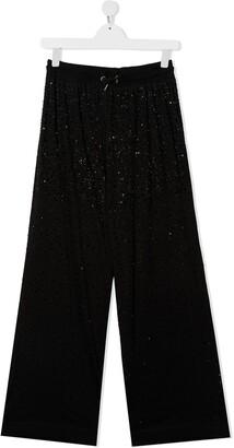 Diesel TEEN crystal-embellished wide-leg trousers