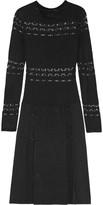 Agnona Sequin-paneled open-knit silk dress