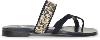 Manolo Blahnik Susaperf brocade flat sandals