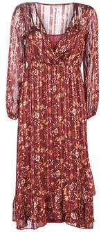 Cream NILA women's Long Dress in Red