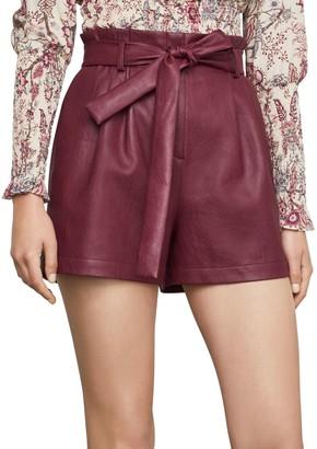 BCBGMAXAZRIA Pleated Faux Leather Shorts