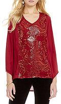 "Reba ""Holiday Gems"" V-Neck Sequin Lace Tunic"