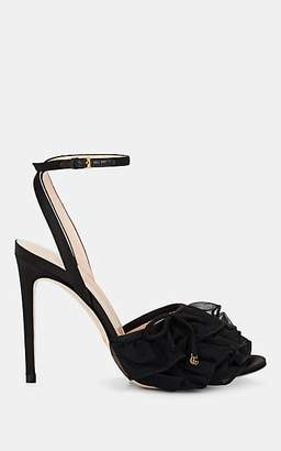 Gucci Women's Ruffled-Tulle Satin Ankle-Strap Sandals - Black