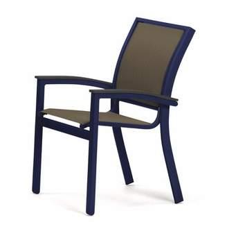 Telescope Casual Bazza Stacking Patio Dining Chair Telescope Casual Frame Color: Graphite, Seat Color: Harper
