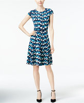 Jessica Howard Printed Belted Fit & Flare Dress