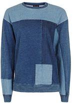 Topshop Denim Patchwork Sweatshirt