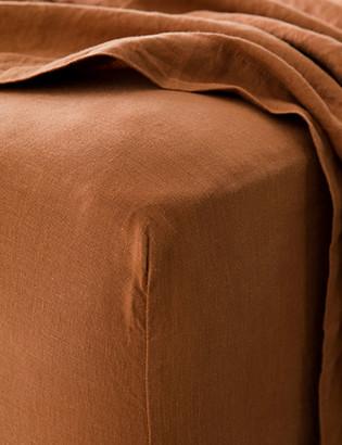 Lulu & Georgia Cultiver Linen Bedding, Cedar Fitted Sheet
