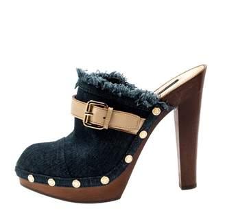 Louis Vuitton Blue Cloth Mules & Clogs