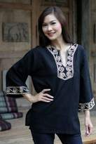 Women's Cotton Tunic, 'Cosmopolitan Night'