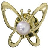 Mikimoto 18K Yellow Gold Akoya Pearl Butterfly Motif Tie Tack Brooch