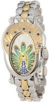 Brillier Women's 18-10 Royal Plume Peacock Inspired Swiss Genuine Blue Sapphires Watch