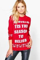 Boohoo Maisie Tis The Season To Belieb Christmas Jumper