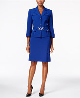 Tahari ASL Three-Button Belted Skirt Suit
