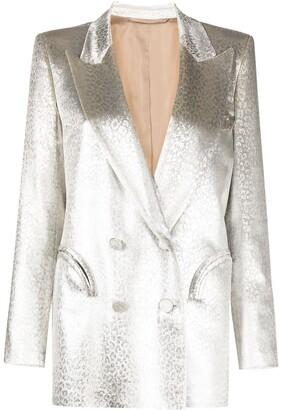 BLAZÉ MILANO Silk-Cupro Blend Metallic Double-Breasted Blazer