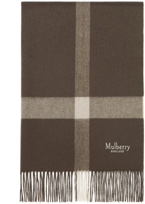 Mulberry Large Check Lambswool Scarf Dark Clay Lambswool