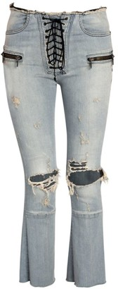 Unravel Project Distressed Lace-Up Flare Jeans