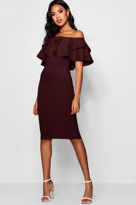 boohoo Off The Shoulder Layered Frill Detail Midi Dress