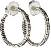 David Yurman Diamond Sculpted Cable Hoop Earrings